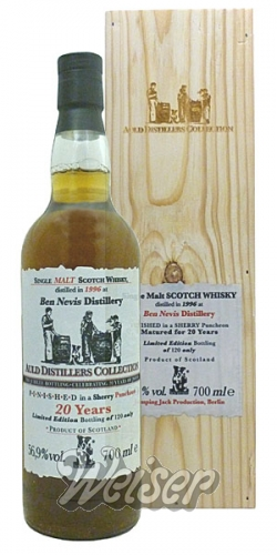 Ben Nevis 1996 20 Jahre 0,7 ltr. Jubilee-Bottling 20 Years JWWW Auld Distillers Collection, Jack Wiebers