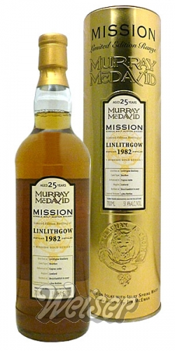 Linlithgow 1982 25 Jahre, Bourbon - Cognac Casks Mission Gold Series, Murray McDavid 0,7 ltr.