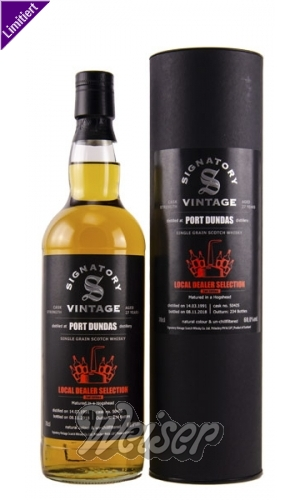 Port Dundas 1991 27 Jahre, Cask 50405 Single Grain Local Dealer Selection, 2nd Edition, Signatory 0,7 ltr.